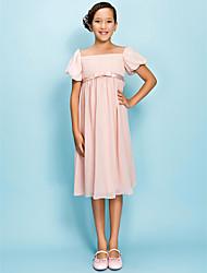 Mantel / Spalte quadratischen Hals Knielänge Chiffon Junior Brautjungfer Kleid von lan ting bride ®