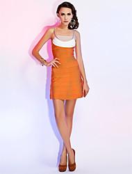 sangle spaghetti à gaine / colonne robe courte / mini rayon cocktail fête robe de vacances avec bandage