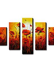 Hand-Painted Floral/Botanical Five Panels Canvas Oil Painting For Home Decoration