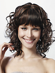 cheap -Capless Medium Curly Black 100% Human Hair Wig Full Bang