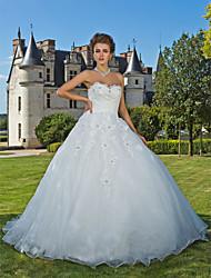 Da ballo A cuore Strascico da cappella Organza Vestito da sposa con Perline Con applique Incrociato di LAN TING BRIDE®
