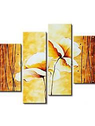 abordables -Pintados a mano, pintura al óleo floral de gran tamaño amplio conjunto de cuatro