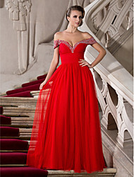 economico -Linea-A Da principessa Senza spalline A cuore Lungo Chiffon Tulle Graduazione / Serata formale / Ballo militare Vestito con Perline