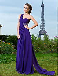 Sheath / Column One Shoulder Floor Length Watteau Train Chiffon Evening Dress with Beading by TS Couture®