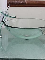 baratos -vitória pia recipiente transparente de vidro temperado com torneira de cachoeira, anel de montagem e de drenagem de água (0917-vt4012)