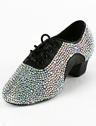 cheap -Men's Kid's Latin Practice Shoes Performance Ballroom Leatherette Heel Rhinestone Low Heel Black 1 - 1 3/4inch Non Customizable