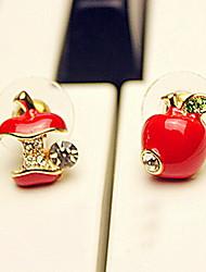 Недорогие -Серьги-гвоздики - Стразы Искусственный бриллиант Дамы На каждый день Бижутерия Красный / Цвет экрана Назначение Для вечеринок Годовщина День рождения Подарок