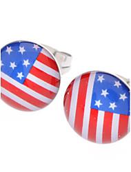 baratos -Brincos Curtos EUA Aço Inoxidável Strass Liga Bandeira Jóias Para Diário