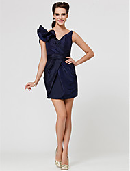 cheap -Sheath / Column V-neck Short / Mini Taffeta Bridesmaid Dress with Sash / Ribbon Criss Cross Ruffles by LAN TING BRIDE®