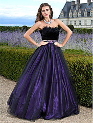 cheap -A-Line Ball Gown Princess Strapless Floor Length Tulle Prom Formal Evening Quinceanera Sweet 16 Dress with Beading Feathers / Fur by TS
