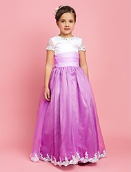 A-Line Floor Length Flower Girl Dress - Organza Jewel Neck by LAN TING BRIDE®