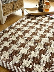 cheap -ELAINE Cotton Rug Patterned with Plaid (50*80cm,Coffee)