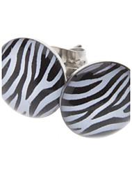 zebra-stripe brincos de aço inoxidável estilo feminino clássico