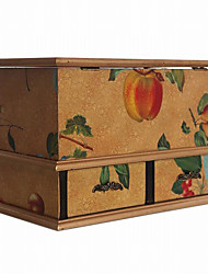 アンティークヨーロッパスタイルのフルーツパターンの多機能木製ティッシュ収納ボックス