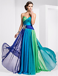 cheap -A-Line Strapless Sweetheart Floor Length Chiffon Prom / Formal Evening Dress with Crystal Detailing Color Block Ruched Criss Cross by TS