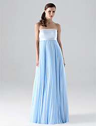 Sheath / Column Strapless Floor Length Chiffon Bridesmaid Dress with Draping Pleats by LAN TING BRIDE®