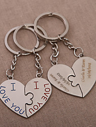 Personalized Heart Key Ring – Kiss You (Set of 4 Pairs)