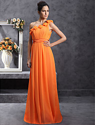 cheap -Sheath / Column One Shoulder Floor Length Chiffon Bridesmaid Dress with Draping Flower(s) Pleats by LAN TING BRIDE®