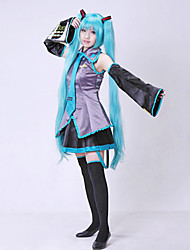 cheap -Inspired by Vocaloid Hatsune Miku Video Game Cosplay Costumes Cosplay Suits Dresses Patchwork Sleeveless Blouse Skirt Sleeves Belt