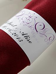 anneau de serviette en papier personnalisé - fleur de fuchsia (lot de 50) réception de mariage