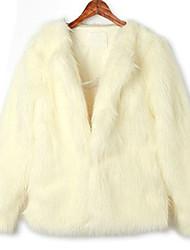 Long Sleeve Kragenlose Büro Faux Fur Coat (mehr Farben)