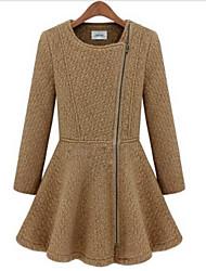 pinklady senhora em torno do pescoço zíper prega balanço casaco de tweed bainha