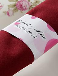 abordables -anneau de serviette en papier personnalisé - rose de mariage (lot de 50)