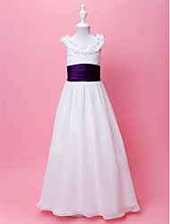 A-Line Floor Length Flower Girl Dress - Chiffon Sleeveless Scoop Neck by LAN TING BRIDE®