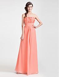 preiswerte -Mantel / Spalte trägerlosen bodenlangen Chiffon Abendkleid mit Blume von ts couture®
