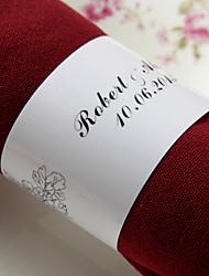 anneau de serviette en papier personnalisé - fleurs noires (lot de 50) réception de mariage