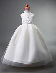 cheap -Ball Gown Floor Length Flower Girl Dress - Satin Tulle Sleeveless Straps with Beading by LAN TING BRIDE®