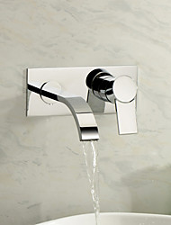 cheap -Bathroom Sink Faucet - Waterfall Chrome Wall Mounted Two Holes Single Handle Two Holes
