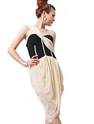 Zhi Yuan Una giunzione spalla Dress contrasto colore