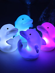 Wedding Décor Lovely Vinyl Dolphin LED Lamp - Set of 4 (Color Changing, Built-in Botton Cell)