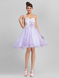 A-Line One Shoulder Sweetheart Knee Length Tulle Party Dress by TS Couture®