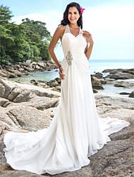 cheap -Sheath / Column V Neck Chapel Train Chiffon Custom Wedding Dresses with Beading Criss-Cross by LAN TING BRIDE®