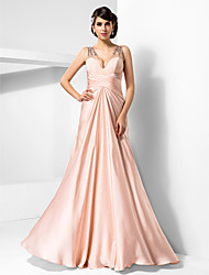Sheath / Column V-neck Floor Length Satin Chiffon Prom Formal Evening Military Ball Dress with Beading Draping Criss Cross by TS Couture®