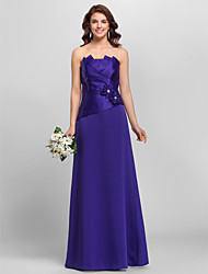 cheap -A-Line / Princess Strapless / Spaghetti Strap Floor Length Satin Bridesmaid Dress with Beading / Side Draping / Criss Cross by LAN TING
