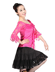 Dancewear Tulle and Viscose with Lace Latin Dance Outfit Top and Skirt For Ladies More Colors