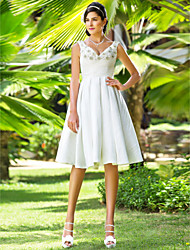 cheap -A-Line Princess V Neck Knee Length Taffeta Wedding Dress with Beading Criss-Cross by LAN TING BRIDE®