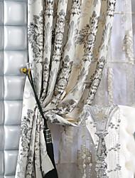 Rod Pocket Grommet Top Tab Top Dvaput nabrane Dvije zavjese Prozor Liječenje Europska Neoclassical , Jacquard Polyester Materijal Zavjese