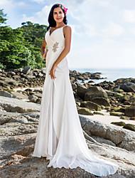 baratos -Tubinho Com Alças Finas Cauda Escova Chiffon Vestidos de casamento feitos à medida com Broche de Cristal / Cruzado / Broche de Cristal em