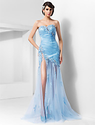 Sheath / Column Spaghetti Straps Sweetheart Sweep / Brush Train Tulle Evening Dress with Beading by TS Couture®