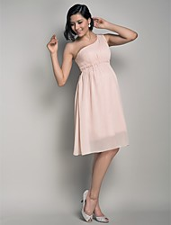 cheap -A-Line Princess One Shoulder Knee Length Chiffon Bridesmaid Dress with Draping Side Draping by LAN TING BRIDE®
