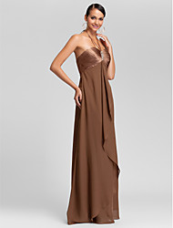 Sheath / Column Halter Sweetheart Floor Length Chiffon Bridesmaid Dress with Beading Draping Criss Cross by LAN TING BRIDE®