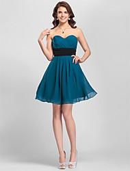 cheap -Sheath / Column Strapless / Spaghetti Strap / Sweetheart Neckline Short / Mini Chiffon Bridesmaid Dress with Sash / Ribbon / Criss Cross / Ruched by