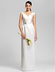 Sheath / Column V-neck Floor Length Satin Bridesmaid Dress with Beading Sash / Ribbon by LAN TING BRIDE®