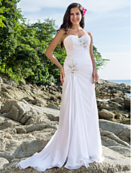 Sheath / Column Sweetheart Court Train Chiffon Wedding Dress with Beading Appliques Side-Draped by LAN TING BRIDE®