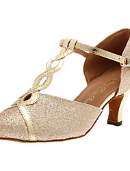 Women's Dance Shoes Modern Sparkling Glitter Heel Silver/Gold Customizable