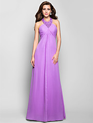 cheap -A-Line Halter Floor Length Chiffon Prom Formal Evening Military Ball Dress with Beading Criss Cross Ruching by TS Couture®